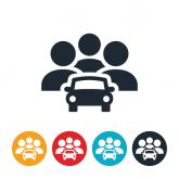 Stock illustration of a ride-sharing system, with cars and passengers in colored bubbles.