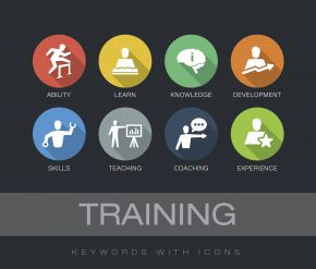 Illustration shows icons representing ability, learning, knowledge, development, skills, teaching, coaching and experience.