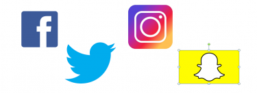 Icons for Facebook, Twitter, Instagram and Snapchat
